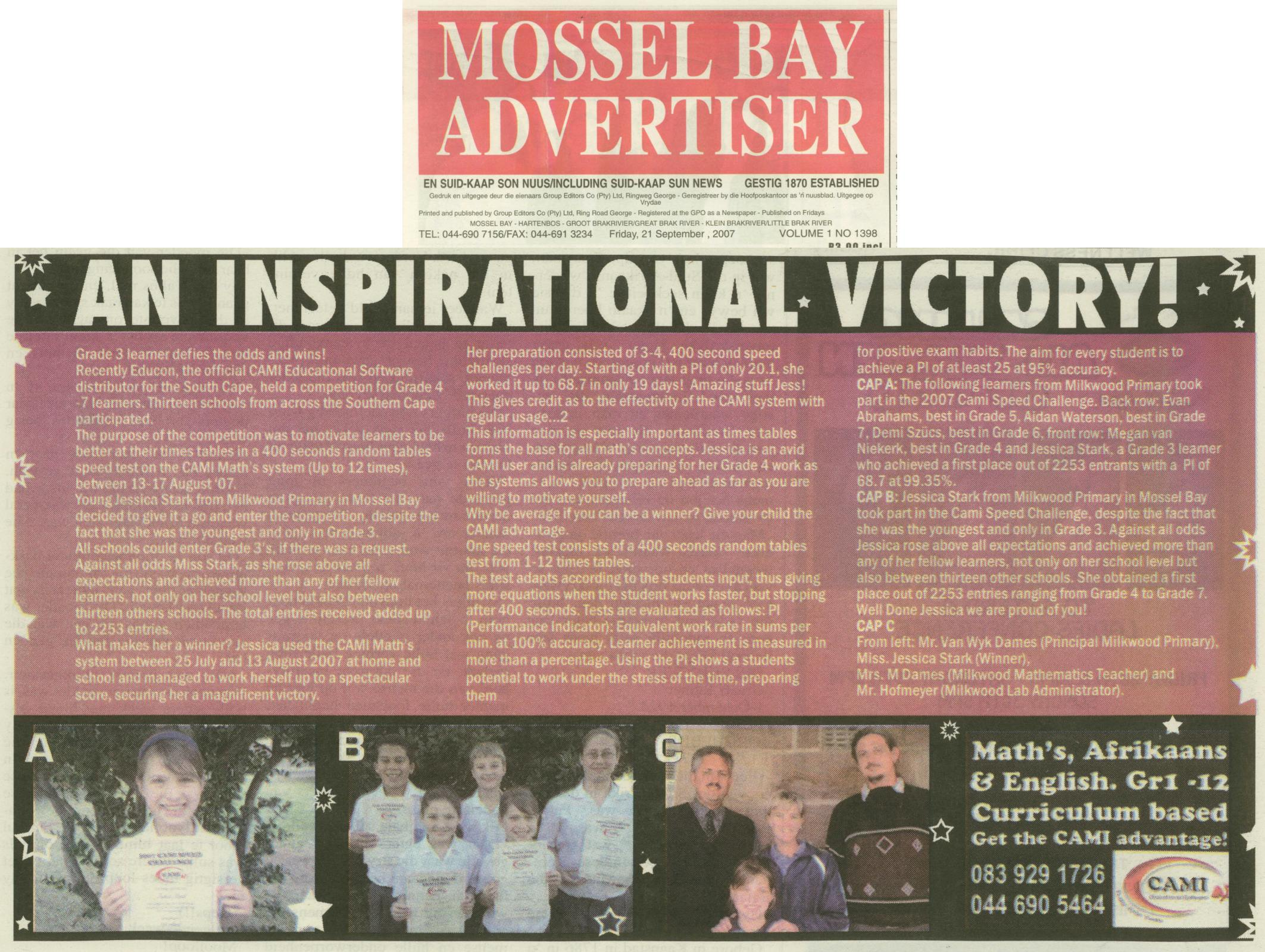 The Mossel Bay Advertiser, 21st September, 2007